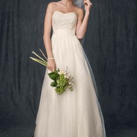 Strapless A Line Beaded Lace Tulle Gown - David's Bridal