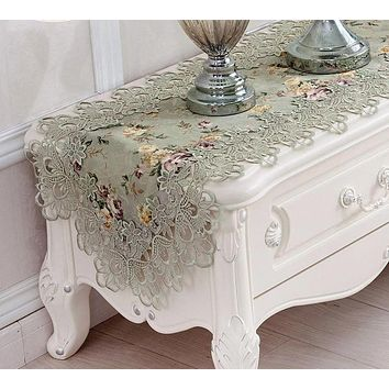 Antique Light  Rose Embroidery Lace Tablecloth