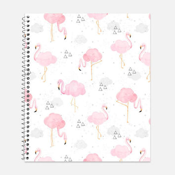 Watercolor Pink Flamingos Notebook, Waterproof Cover, Journal, Watercolor Journal, Back to School Supplies, Pink Notebook, College Ruled