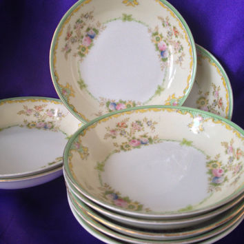 Meito Japan NSP Berry Bowls, Set of Three Hand Painted Mid Century Nagoya Seito China Bowls, Pastel Cottage Colors, Pattern MEI345