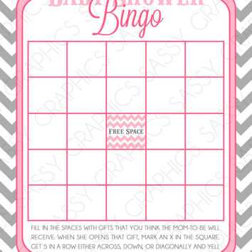 Instant Download Girl Baby Shower Bingo Card - Chevron, Pink, Gray, Printable, Digital