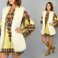 FAUX FUR vtg 80's shaggy white boho hippie minimalist layering GILET vest, extra small-medium