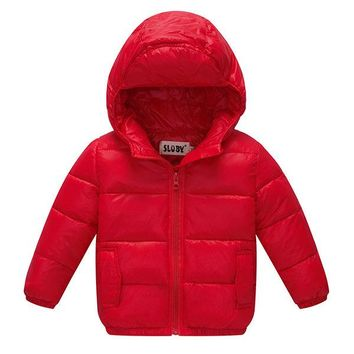 Solid Thick Hooded Pockets Down Coat For Baby