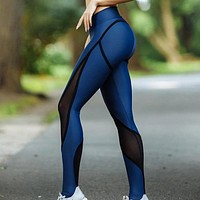 New Fashion Solid Color Mesh Women Sports Leisure Yoga Pants Blue