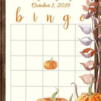 10 Fall Baby or Bridal Shower Bingo Cards