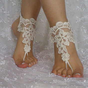 Free ship bridal lace barefoot sandal wedding prom party lolita