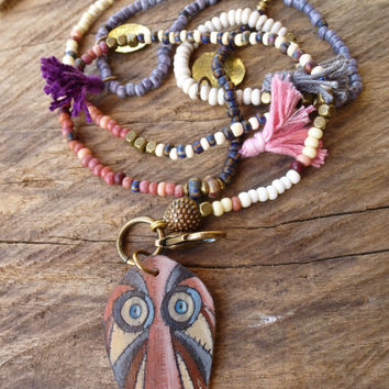 Gypsy, hippie necklace. Tassel, brass coin necklace. Bohemian, Rustic layering necklace, long, beaded necklace