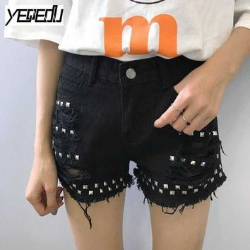 ESBONRZ #3316 Summer 2017 Fashion Rivet denim shorts Tassel Black/White High waist Burr short jeans Hip hop Punk Rock denim jeans shorts