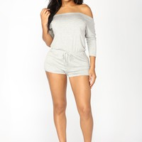 Lamar Off Shoulder Romper - Heather Grey