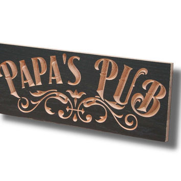 Personalized Pub Sign, Carved Wooden Signs, Brewery Sign, Personalized Home Bar Sign, Benchmark Custom Signs Maple PU