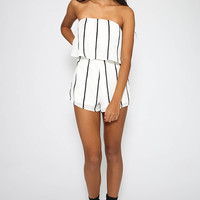 Lucile Playsuit - White Stripe
