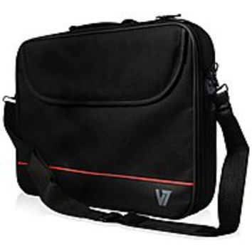 V7 Essential Laptop Carrying Case for 15.6-inch Notebook - Polyester - Black-Red