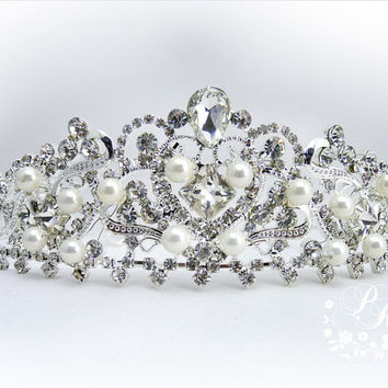 Wedding Crown Rhinestone Crystal Swarovski by PureRainDesigns