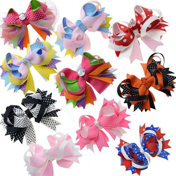"5"" Large Stacked Girls Ribbon Boutique Hair bows Alligator Clips For Teens Kids Hair Clip Fashion Hair Accessories 10pcs/lot"