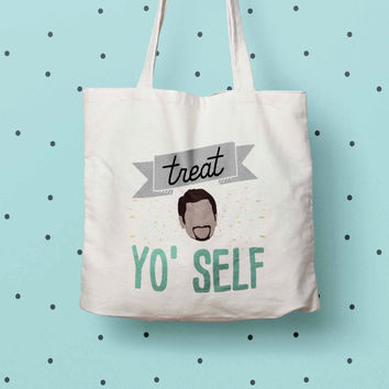 Treat Yo Self eco tote bag, Parks and Rec print tote
