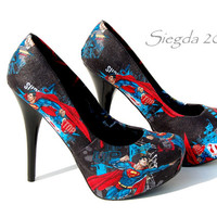 RARE FABRIC -Up Up & Away-SuperMan Heels- Party Pumps- Cosplay Comiccon- gift for her- wedding shoes- comicbook-man of steel