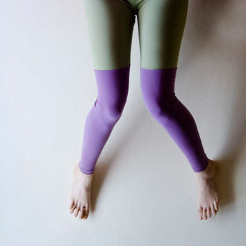 Colorblock Leggings Lavender and Mint, Color block fashion, Footless tights, Plus Size Available Womens Leggings