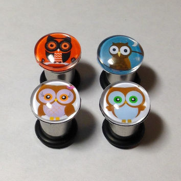 Owl Picture Plugs & Earrings 14g-00g