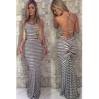 Striped Backless Strap Maxi Sundress