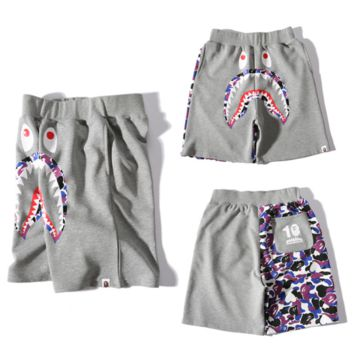 Bape Aape Fashion new shorts male shark print men shorts Grey