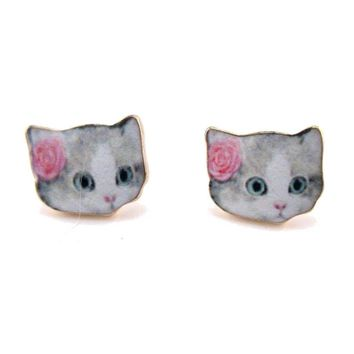 Grey Tabby with Rose Shaped Cat Lovers Stud Earrings