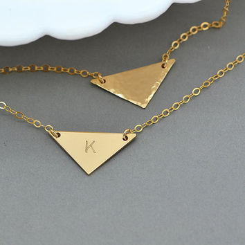 Triangle Necklace, Geometric Necklace, Minimal Jewelry, Engraved Necklace Gold, Personalized Jewelry