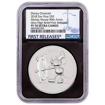 2018 Niue 2 oz Silver $5 Disney Mickey Mouse 90th Anniversary UHR NGC PF-70 UC (First Releases)