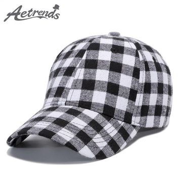 Trendy Winter Jacket [AETRENDS] 2018 New Spring Plaid Baseball Cap Men or Women Outdoor Sport Bone Caps Snapback Hats Z-6304 AT_92_12