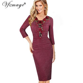Vfemage Womens Ruched Elegant Vintage Embroidery Floral Party Mother of Bride Special Occasion Pencil Sheath Bodycon Dress 4336