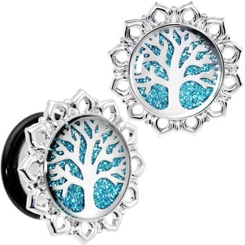 "9/16"" Blue Glitter Inlay Tree of Life Single Flare Plug Set"