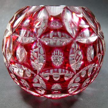 Red cased Crystal rose bowl glass cut to clear