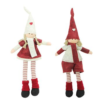 """Set of 2 Plush Red and Beige Boy and Girl Sitting Christmas Doll Decorations 15.75"""""""