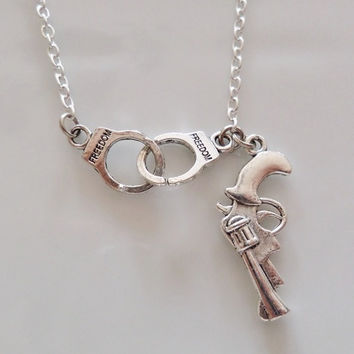 Partner in crime Necklace, Partner in crime, handcuffs and pistol necklace, sister gift, best  friend gift, friendship gifts