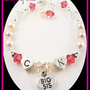 Big Sister Initial Charm Heart Bracelet for Girls, Sterling silver pearl crystals heart letter beads with the initials new baby