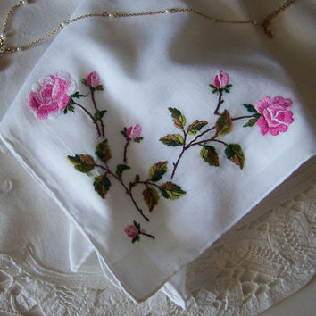 Pink Roses Bride's Vintage Handkerchief, Something Old, Bridal Shower Gift, Wedding Hanky