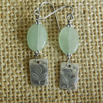 Dangle earrings, prehnite, artisan sterling silver, bohemian jewelry, leaf charm, fall, boho chic, casual, everyday jewelry