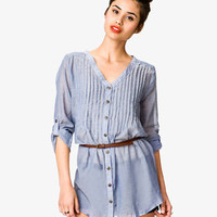 Chambray Tunic w/ Skinny Belt