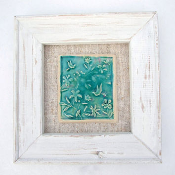 Framed tile humming bird green turquoise by damsontreepottery
