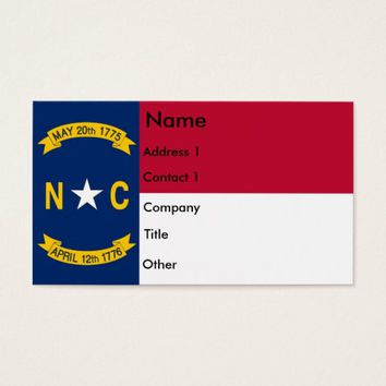 Business Card with Flag of North Carolina U.S.A.