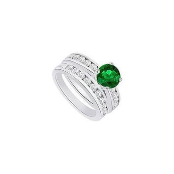 Emerald & Diamond Engagement Ring with Wedding Band Sets 14K White Gold  1.25 CT TGW