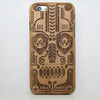 Cultural Totems Wood Case Solid wood Retro Wooden New Cover Carving flower Patterns Wood Slice Plastic Edges Back Cover for Iphone 6 case iPhone 6 Plus