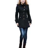 Black Coat Fitted Military Jacket Winter Wool Jacket Casual Cashmere Women Coat - Custom made - NC261