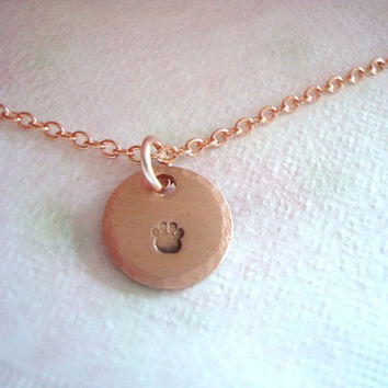 Hand Stamped Copper Tag With Tiny Puppy Paw Necklace