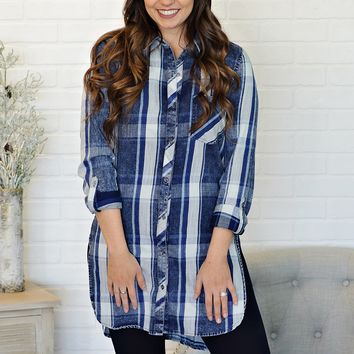 * Hayden Button Down Tunic : Blue