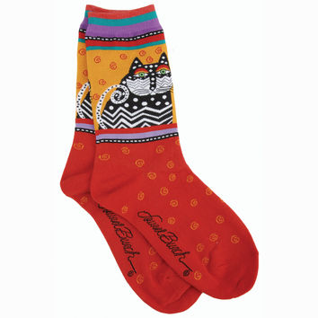 Laurel Burch Socks-Polka Dot Cats - Red