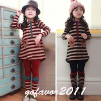 Girl Kids Stripe Long Sleeve Top Dress+Bowknot Leggings 2PCS Sets Outfit 2colors