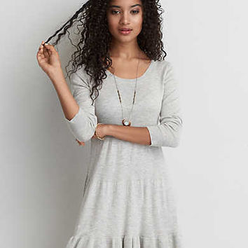 AEO Keyhole Sweater Dress , Light Heather