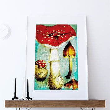 Kitchen Print Kitchen Decor Vintage Mushroom Art Rustic Farmhouse Giclee Print on Cotton Canvas and Paper Canvas Poster Home Wall Art