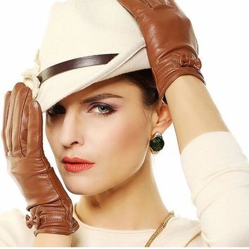 Fashion 2017 Women Gloves Thin Velvet Wrist Solid Bowknot Sheepskin Glove Female Genuine Leather Free Shipping L101PQ