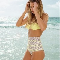 Fashion Print High Waist Strapless Bikini Swimsuit Swimwear
